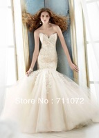 Best Design Elegant Sexy New Unique Organza Applique Beaded Mermaid Formal Wedding Dresses 2014 Free Shipping