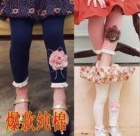Flower Girls leggings kids leggings for girls legging kids cotton flower with pearls fashion children leggings tights wholesale