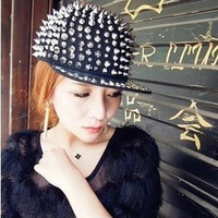Punk rivet hiphop cap hiphop hip-hop cap brimmed hat horn hat devil hat