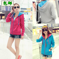 Autumn outerwear spring and autumn the trend of women casual plus size loose with a hood sweatshirt short jacket
