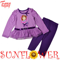 Wholesale Children Girls' 2 Piece Clothing Suit Cartoon Princess Sofia Casual Clothing Free Shipping 2T-4T