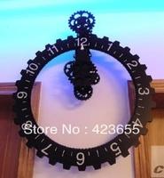 Pastoral creative fashion bell gear big hanging Zhong Chaojing mechanical gear wall clock hanging clock living room