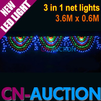 FS! 3.6Mx0.6M Curtain Lights 476 LEDs 3 in 1 Peacock Net Lights Decorative Garden Wedding Christmas Lights 5pcs/lot (CN-LSL44)