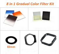 Free shipping 8 in 1  Square Graduated Blue Orange Grey filters+82mm  Adapter Ring+Full ND2 ND8+Holder+Lens Hood for Cokin P