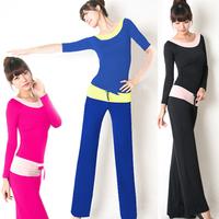 Spring and summer yoga clothes set for lady half sleeve modal yoga dance clothing female long-sleeve dance wear yoga wear 163