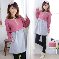 Yida pullover 2013 100% Size fits all cotton stand collar short-sleeve maternity clothing sweater top