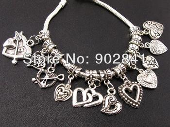 FASHION NICE 90pcs Mix Dangle Heart Beads Fit Charm Bracelet fm28+free shipping