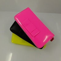 New Arrivals Fashion High-quality Pu Bright leather wallet 3 Color woman Long Design wallet Free Shipping