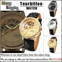 Free Shipping Luxury Brand Military leather Strap Watch Gold Skeleton Hand-winding Mechanical Analog Men Sport Steel Wrist Watch