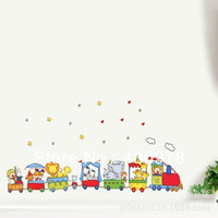 QZ188 Free Shipping 1Pcs Cartoon Animals Zoo Train Cloud Stars Beadroom Living Room Decoration Removable PVC Wall Sticker