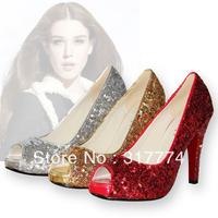 Red high-heeled   wedding  bridal bridesmaid  platform open toe single shoes a005