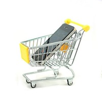 V1NF Mini Supermarket Handcart Shopping Utility Cart Mode Yellow Storage Toy