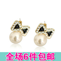 Small accessories sweet bow earrings bow pearl diamond stud earring  2pcs=1pair