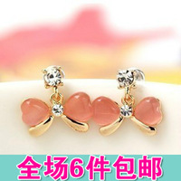 Candy color diamond earrings exquisite female bow stud earring accessories  2pcs=1pair