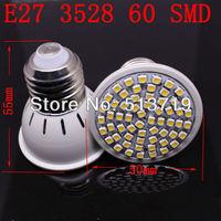 5X Wholesale E27 3.5W 60SMD 5050 LED High Power Light White/ Warm white bedroom light spot lamp Allimium body Long life 200-240V