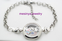 316L stainless steel plain medium floating charm glass locket 8'' +4cm extendion length chain bracelet
