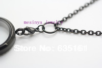 30'' 3mm width black flat cable stainless steel O ring chain necklace for floating charm glass locket,no locket