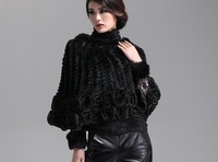 women's fur poncho Genuine Knitted rex  Rabbit Fur with beautiful lace floral  Wrap /shawl jacket   free shipping