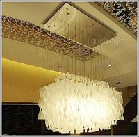 "L70cm/27.6""Modern dome light chandelier rectangle Wave shape glass Glass chandelier"