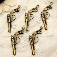 Min order $15 Promtion! new fashion alloy metal Bronze gun Jewelry charms findings free shipping