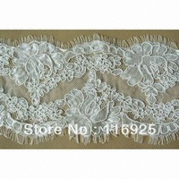 Eyelash Scalloped Egde Chantilly Lace Trim with Cording Fabric for Wedding Gown Dress ,Wedding Veil