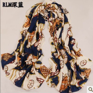 Europe and the United States to restore ancient ways the carriage velvet chiffon long scarf