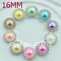 Free Shipping!100pcs/lot(16mm)10colors round metal rhinestone pearl button wedding embellishment headband DIY accessory