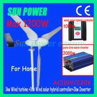 Free Shipping 1000Wwind turine generator+ 1kw wind solar hybrid controller +2000w pure sine wave inverter AC110V/220V for home