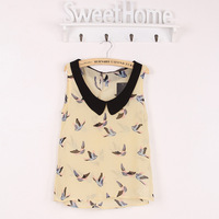 YM8532#23 Fashion Euro Style Women Sleeveless Peter Pan Collar Birds Print Chiffon Blouse Casual Women Sexy Blouse