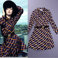 Fall  Long Sleeve Plaid Printed Pleated  Dress 130902YY02