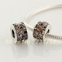 925 Sterling Silver Column Spacer Charm Beads with Topaz Facet  Crystal, Compatible With Pandora Style Bracelet XS186B
