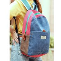 2013 women's  bag summer denim color block backpack canvas backpack unisex school bag