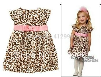 freeshipping!!!2014 Summer children fashion dress girls pink Belt fly sleeve leopard dress