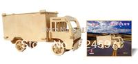Wholesale promotion 5pcs Children Educational Gift handicraft popular handmade decoration truck 3D diy wooden puzzle toy WJ0106