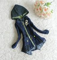 Jean jacket little hooded girls jean jacket zipper fashion children's coat--AT102