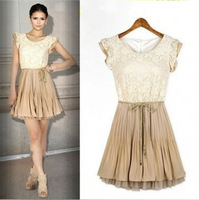Celebrity Style Womens Lace Chiffon Dress with belt