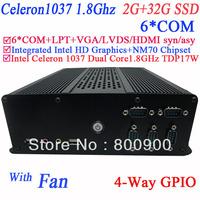 Free shipping windows linux mini pc with  LPT 6* COM intel HD graphic Intel Celeron 1037 Dual core1.8GHz 17W NM70 2G RAM 32G SSD