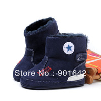 1 Pair Retail Top Quality Boy Navy Blue Snow Boots With Star ,Toddler Boy Winter Snow Boots First Walker Shoes Free Shipping