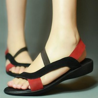 Lovewife Lady shoe 2013 summer cowhide cow muscle outsole flat heel sandals plus size 34 - - 42 sk828 38