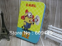 50pcs/lot Free shipping 9colours High quality DESPICABLE ME 2 leather wallet cover case for Samsung Galaxy Tab 3 7.0 P3200