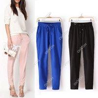 S5Q 2014 New Fashion Woman Drawstring Elastic Waist Chiffon Harem Pants 3 Size Free Drop Shipping
