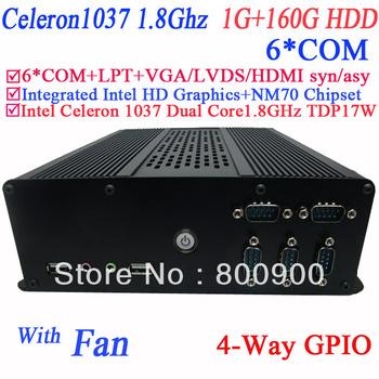 2013 new mini pcs with windows XP 7 linux LPT 6* COM intel HD graphic Intel Celeron 1037 Dual core 1.8GHz NM70 1G RAM 160G HDD