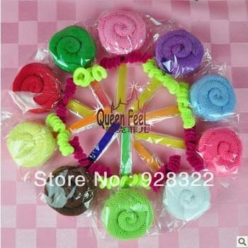 Wholesale Bulk Price Mixed Colors Cotton Lollipop Towels& Kerchiefs Creative Gift For Festivals, Free Shipping
