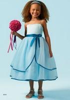 Free Shipping casual beach Blue Organza A-line Spaghetti Straps Tea-length Wedding Bling Flower Girl Dresses Custom size/color