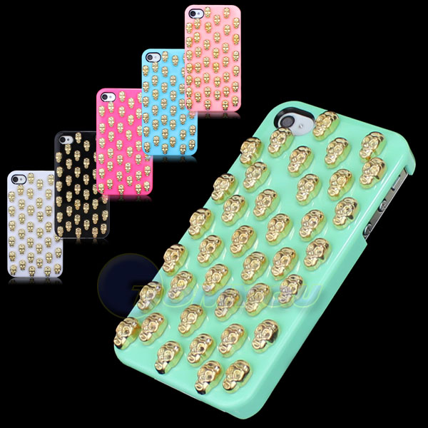 Free Shipping Brass Skull Bling Studs Nails Hard Smooth Bone Hard Case Cover For iPhone 4 4S()