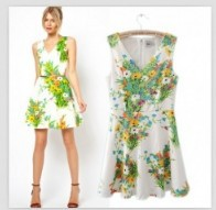 2013 New Hot Sale onepiece Dress Europe Flower V Neck Sleeveless Dress Green GX13081705