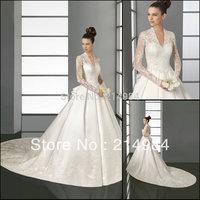 Famous Design Custom White/Ivory Satin Lace Royal Train Long Sleeve Wedding Dress Bridal Gown 2014