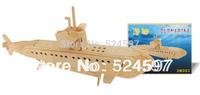 Factory direct Children Educational Gift handicraft popular handmade decoration Submarine 3D diy wooden puzzle toy WJ0112