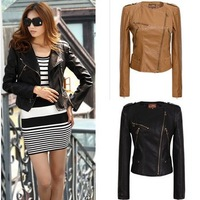 Ladies women's stylish PU jackets Fashion Black Coffee Color Long Sleeve PU Leather Jacket Motorcycle Jacket Outwear For Women