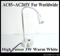 3W warm White High Power LED Desk table lamp flexible head silver color led light LD7